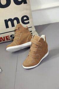 Baskets sneakers compensées beiges talon caché brown High Wedge Platform Heels
