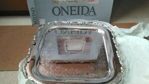 Vintage Silverplate Oneida Georgian Scroll Square Tray-15 1/2 inches Made in USA