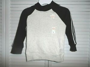 Cool Jumping Beans boys size 4 soft black and heathered white hooded sweatshirt