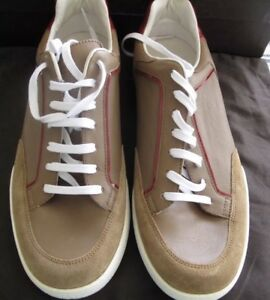 New Authentic Gucci Men Tennis Shoes Sneakers Leather Suede Tan 7.5 G 8.5 $695