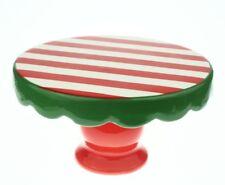 """IQ Accessories Ceramic Cake Stand Pedestal - 4"""" H x 7"""" D - Holiday Stripe - NEW"""