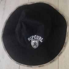 Rip Curl Vintage Widebrim Hat Size XS Drawstring Toggle Black Grey Trim