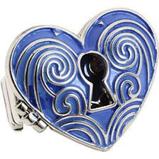 NWT Guess Silver Metal-Clear Rhinestone-Blue Enamel Heart Stretch Locket Ring