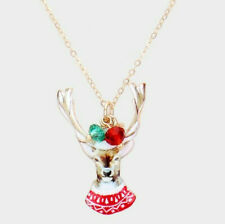 Christmas Theme Watercolor Painting Pendant Bead Necklace (Reindeer)