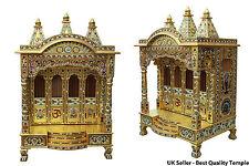 "Handmade Golden Minakari Meena Puja Pooja Mandir Hindu Temple 24""W X 18""D"