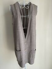 TU Women's Cardigan Size 16 Mink Brown Sleeveless With Buttons Pockets Vest