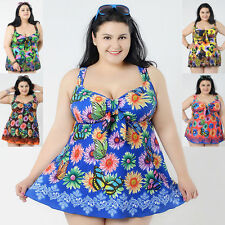Womens Swimdress Plus Swimsuit Tankini Swimwear Summer Beach Wear UK size 20-30W