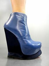 MORI ITALY WEDGES HEELS ANKLE BOOTS STIEFEL STIVALI SHOES LEATHER BLUE BLU 38