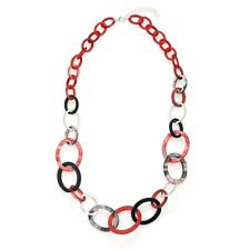 New Fashion Lagenlook Hoops Long  Chain Necklace - Black/Red