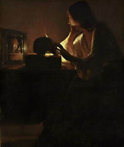 Georges de La Tour The Repentant Magdalen Giclee Paper Print Poster Reproduction