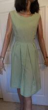Vintage Light Green Textured Sun Dress Scalloped Neckline B42