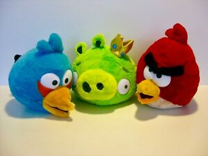 Angry Birds Bundle of 3 King Pig Red Bird and Blue Bird Plush Toys