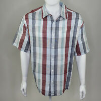 Cafe Luna Men's Red Blue Gray White Plaid Short Sleeve Button Up 2XL XXL