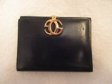 Vintage Gucci Black Leather Wallet Iconic Interlocking G Logo Clasp --Superb!
