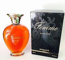 ROCHAS FEMME Edt 100ml Splash VINTAGE PREBARCODE PERFECT Perfume OLD FORMULA!