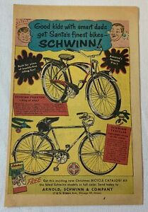 1954 Schwinn bicycles cartoon ad ~ BLACK PHANTOM, TRAVELER