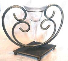 Windlicht Metall Glas Kerzenständer Teelichthalter mediterran Landhaus 24x22cm