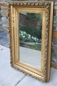 """ANTIQUE  GOLD GILT GESSO WOOD ROCOCO  WALL MIRROR  23"""" BY 16"""" OR PICTURE FRAME"""