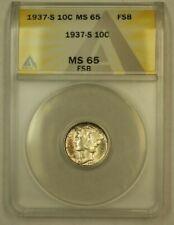 1937-S Mercury Dime 10c ANACS MS-65 FSB FB *Very Attractive Toning* *Beautiful*