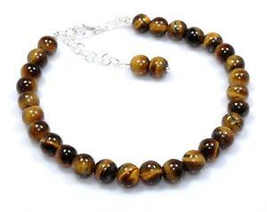 Tiger's Eye Bracelet Sterling Silver Beads Jewelry Birthday Gift Anniversary #93