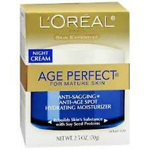 Loreal Age Perfect Anti-Sag & Ultra Hydrate Night Cream 2.5 oz (3 PK)+ Mkup Spng