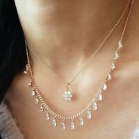 925 STERLING SILVER HANDMADE JEWELRY WHITE ZIRCON BOTH NECKLACE