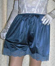 Vintage style petrol silky nylon & lace gusset french knickers panties culotte