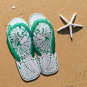 Hand Carved Unisex Flip Flops | Comfortable Adult Sandals | Asian Bird