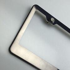 Powder Coated Black Chrome License Plate Frame w/ Aluminum Circle Type Screw Cap