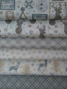 Christmas, Snow, Stag, Reindeer, Fat Quarter, 100% Cotton, Timeless Treasures