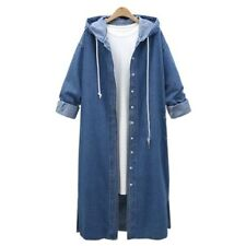 Women Hooded Long Sleeve Denim Overcoat Casual Long Jean Jacket Coat Outwear