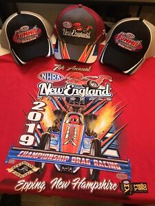 NHRA  2019 NEW ENGLAND NATIONALS HAT and  Red SHIRT SIZE MEDIUM plus 2 FREE HATS