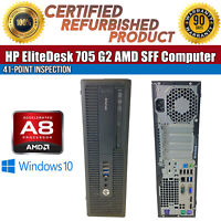 HP EliteDesk 705 G2 SFF AMD A8 8GB RAM 500GB HDD Win 10 USB VGA B Grade Desktop