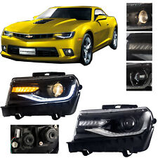 New Pair Headlights LED Projector Front For Chevrolet 2014-2015 Chevy Camaro