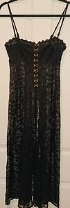 Intimately Free People Embroidered Lace slip dress hook & eye front closure SP