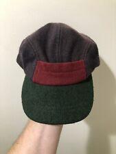 Vintage 40s 50s 5 Panel Color Block Wool Leather Strapback Hat Cap Fishing Sport