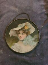 Vintage Original Victorian Era Woman in Blue White Flower Hat Flue Chimney Cover