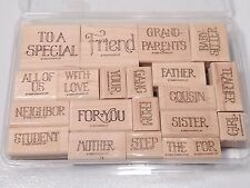 Rubber Stamp Set Card Making Scrapbooking Words Family Friends 21 pcs.