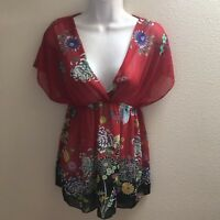 blouse top small s black red floral print v neck casual Sheer