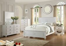 NEW 4PC SANTA BARBARA COASTAL STYLE WHITE FINISH WOOD QUEEN SIZE BEDROOM SET