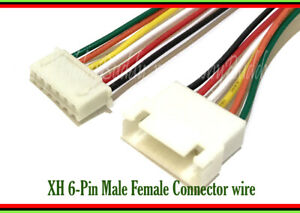 6-Pin XH 2.5mm male female connector housing adapter 26AWG 200mm wire cable x 15
