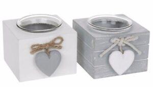Provence Single Tealight Holders - Set of 2  White Grey Wooden Cube Tea Light