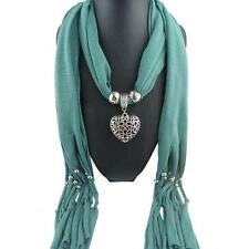 Women Winter Autumn Tassel Heart Gemstone Necklace Scarf Chic Stay Warm Scarves
