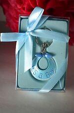 12 PCS Baby Shower Party Favors Keychains Its A Boy Blue Bib Recuerdos De Nino