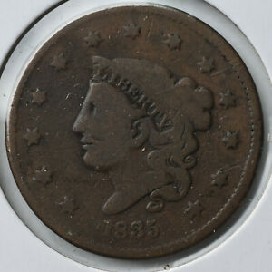 1835 1C Coronet Head Large Cent Early Type Coin Circulated Very Good VG