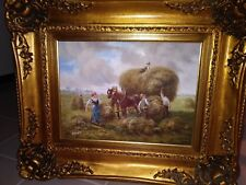 """Original Signed Oil Painting """"Family Loading Hay"""" With Ornate Frame"""