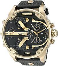 NEW Diesel DZ7371 Mr Daddy 2.0 Black Leather Strap Chrono Watch 57mm