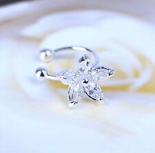 Women Girl Crystal Flower Gold Silver Ear Cuff Stud Earring Wrap Clip On Jewelry