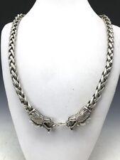 China's Tibet silver handmade craft fine Dragon necklace