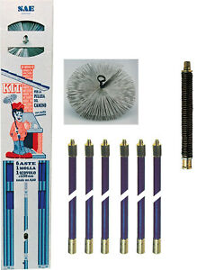 kit spazzacamino con aste flessibili + scovolo per pulire pulizia camino tubi fu